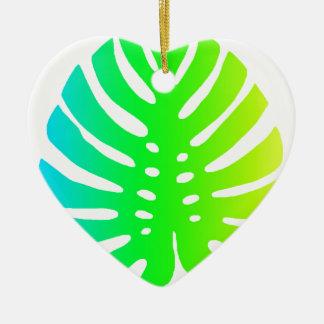 Ornement Cœur En Céramique Feuille tropicale
