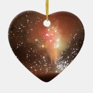 Ornement Cœur En Céramique feux d'artifice