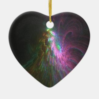 Ornement Cœur En Céramique Feux d'artifices fractal