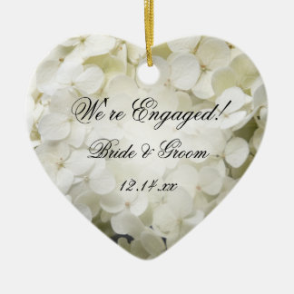 Ornement Cœur En Céramique Fiançailles blanc d'hortensia