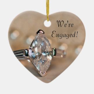 Ornement Cœur En Céramique Fiançailles de bague à diamant de marquis