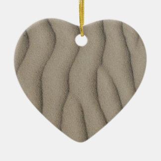 Ornement Cœur En Céramique ficelles bronzages des lignes