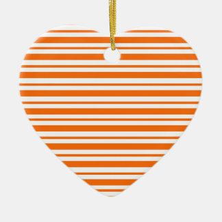 Ornement Cœur En Céramique Filet horizontal orange