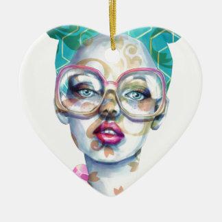 Ornement Cœur En Céramique Fille avec l'art pour aquarelle génial en verre