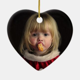Ornement Cœur En Céramique Fille de Noël - enfant de Noël - fille mignonne