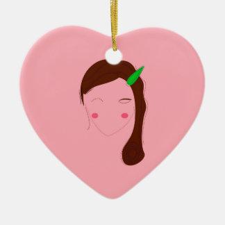Ornement Cœur En Céramique Fille de santé de rose de femme de l'Asie