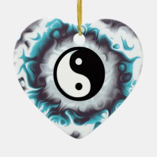 Ornement Cœur En Céramique Flamme de Yin Yang Teal
