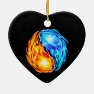 Ornement Cœur En Céramique Flammes jumelles