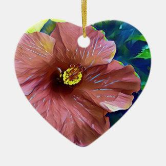 Ornement Cœur En Céramique Fleur artistique de ketmie de rose poussiéreux