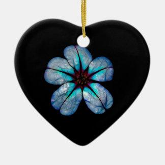 Ornement Cœur En Céramique Fleur au néon 1