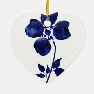 Ornement Cœur En Céramique Fleur bleue