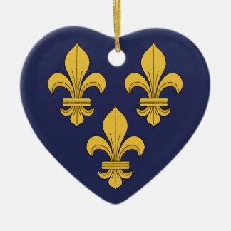 Ornement Cœur En Céramique Fleur-De-lis
