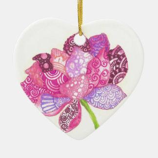 Ornement Cœur En Céramique Fleur de Lotus