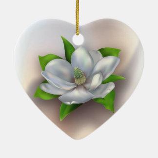 Ornement Cœur En Céramique Fleur de magnolia