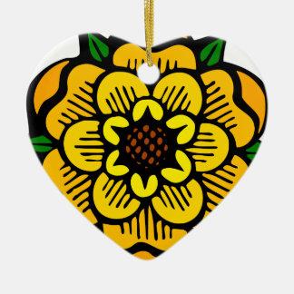 Ornement Cœur En Céramique Fleur jaune