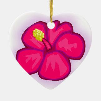 Ornement Cœur En Céramique Fleur rose d'Hawaï