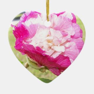 Ornement Cœur En Céramique fleur variable de rose et blanche de ketmie