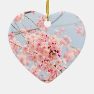 Ornement Cœur En Céramique Fleurs de cerisier roses