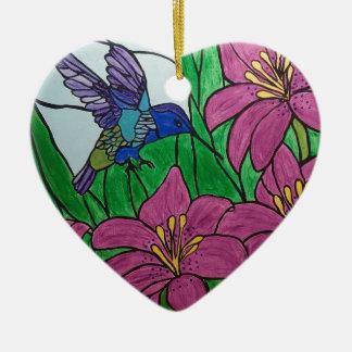 Ornement Cœur En Céramique Fleurs d'oiseau de ronflement