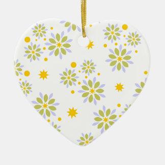 Ornement Cœur En Céramique Fleurs, étoiles et points modernes colorés