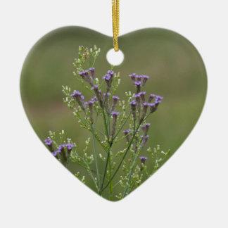 Ornement Cœur En Céramique Fleurs sauvages de verveine de lavande