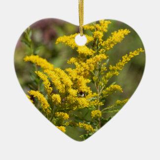 Ornement Cœur En Céramique Fleurs sauvages dorés
