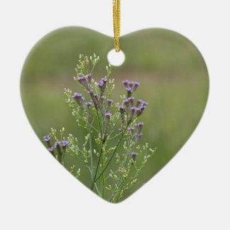 Ornement Cœur En Céramique Fleurs sauvages sensibles de verveine de lavande