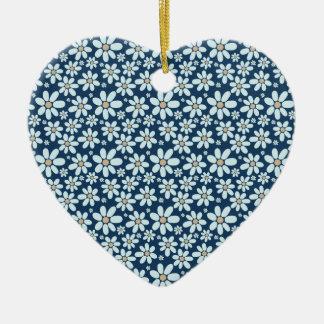 Ornement Cœur En Céramique Fleurs sur bleu-foncé