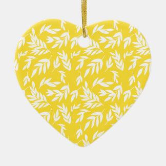 Ornement Cœur En Céramique Fleurs sur le jaune de miel