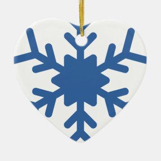 Ornement Cœur En Céramique Flocon de neige