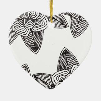 Ornement Cœur En Céramique Flores monochromes