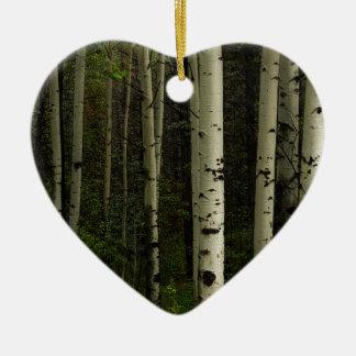 Ornement Cœur En Céramique Forêt blanche