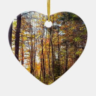 Ornement Cœur En Céramique Forêt d'automne du New Hampshire