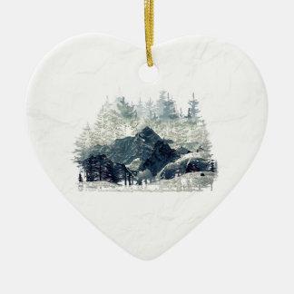Ornement Cœur En Céramique Forêt d'hiver