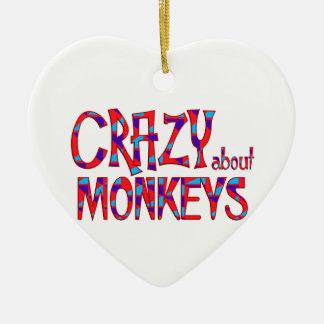 Ornement Cœur En Céramique Fou au sujet des singes
