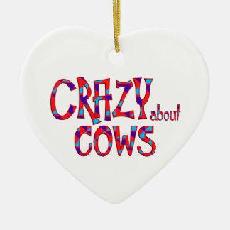 Ornement Cœur En Céramique Fou au sujet des vaches