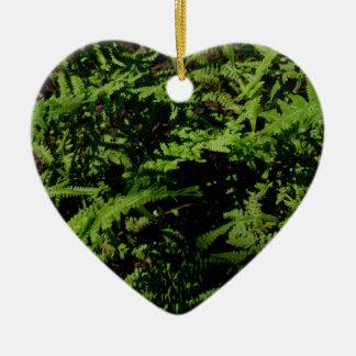 Ornement Cœur En Céramique Fougères vertes