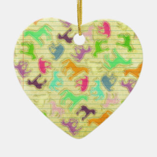 Ornement Cœur En Céramique Frappez une pose de licorne