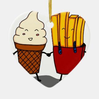 Ornement Cœur En Céramique Fritures et crème glacée