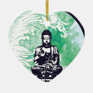Ornement Cœur En Céramique Fumée d'émeraude de vague de Bouddha d'ouragan