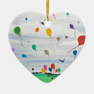 Ornement Cœur En Céramique Garçon avec les ballons