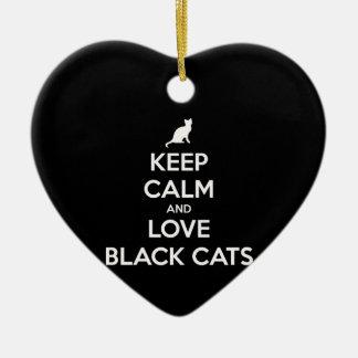 Ornement Cœur En Céramique Gardez le calme et aimez les chats noirs