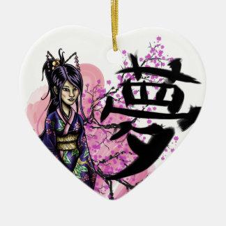 Ornement Cœur En Céramique Geisha