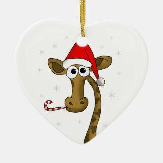 Ornement Cœur En Céramique Girafe de Noël