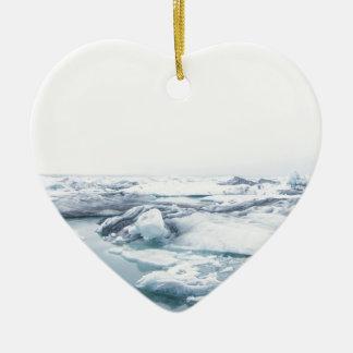 Ornement Cœur En Céramique Glaciers de l'Islande - blanc