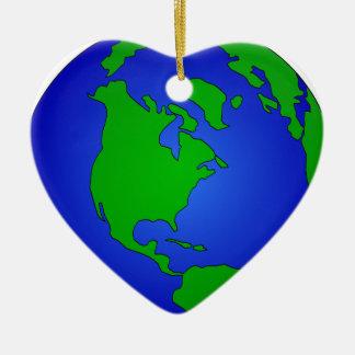 Ornement Cœur En Céramique Globe de la terre