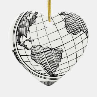 Ornement Cœur En Céramique Globe du monde