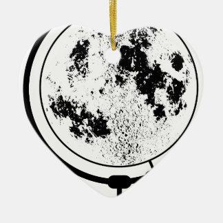 Ornement Cœur En Céramique Globe lunaire monté sur le pivot tournant