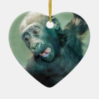 Ornement Cœur En Céramique Gorille de bébé