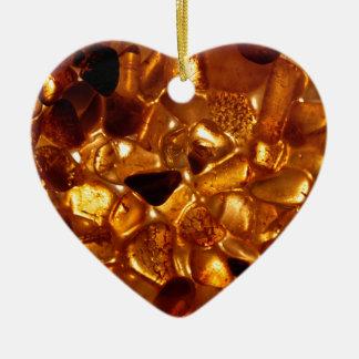 Ornement Cœur En Céramique Grains ambres avec l'illumination de contre-jour